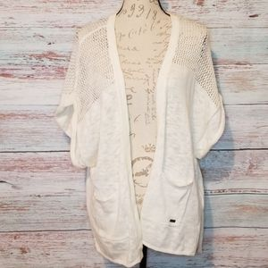 Roxy Cardigan Sweater White Knit with Pockets